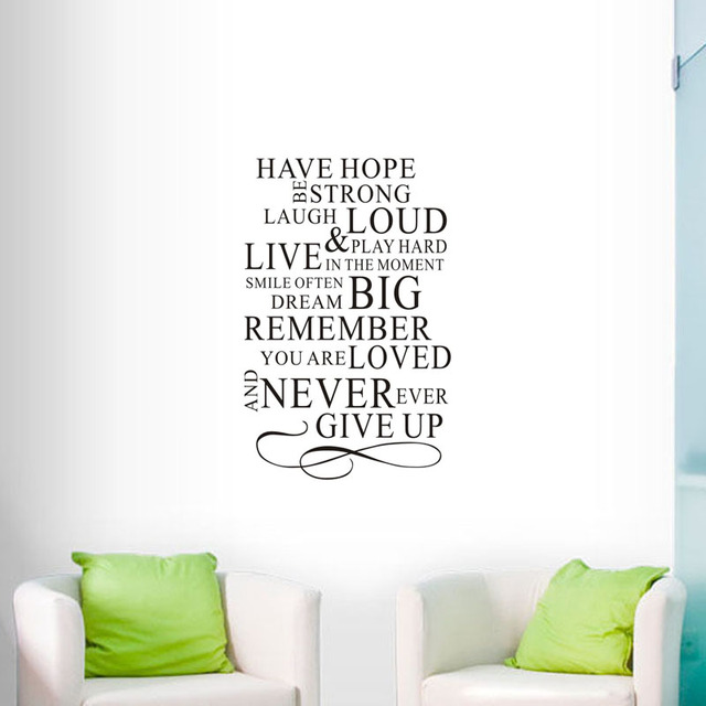 Vinyl wall decals have hope be strong laugh loud quote wall stickers text home decoration accessories