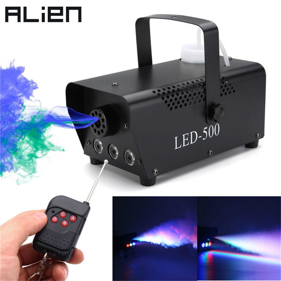 ALIEN Wireless Remote Control 400W Disco Mini Smoke Fog Machine For DJ Disco Party Holiday Wedding Christmas With RGB LED Light professional fog machine 400w mini smoke machine with wireless remote for wedding effects event party