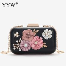 Clutches Bag For Women Flower Clutch Purse Bride Wedding Bags With Rhinestone Pearl Shoulder Chain Pink Designer Handbag Women 2018evening bags and clutches for women with rhinestone for wedding and party messenger bag with chain