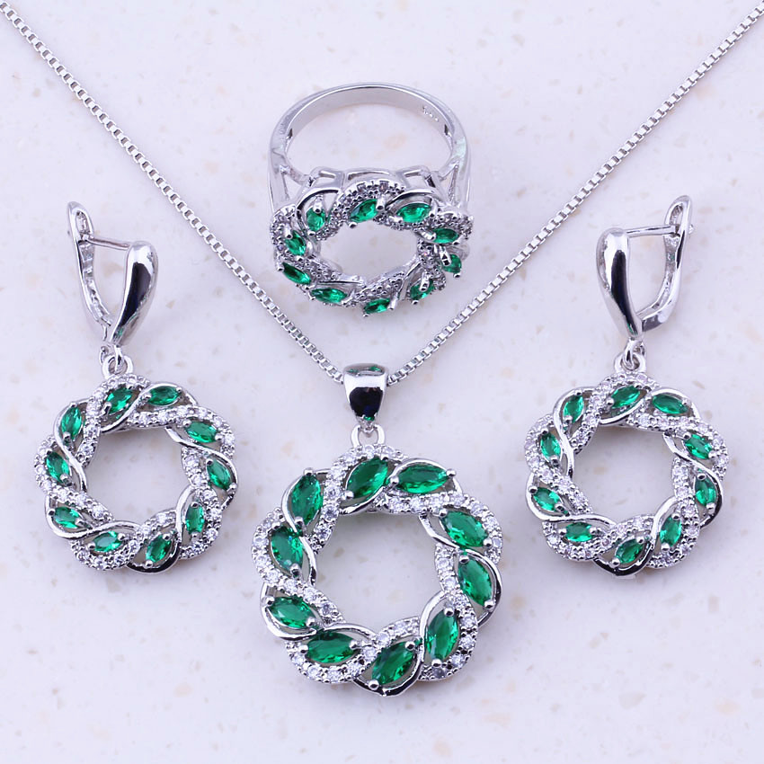 Brilliant Created Emerald & White CZ 925 Sterling Silver Jewelry Sets For Women Trend Fashion Jewelry Free Gift Box J0003
