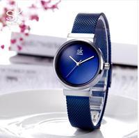 2019 Shengke Luxury Stainless Steel Watches Women Blue Fashion Quartz Reloj Mujer SK Ladies Watches Christmas Gift skmei