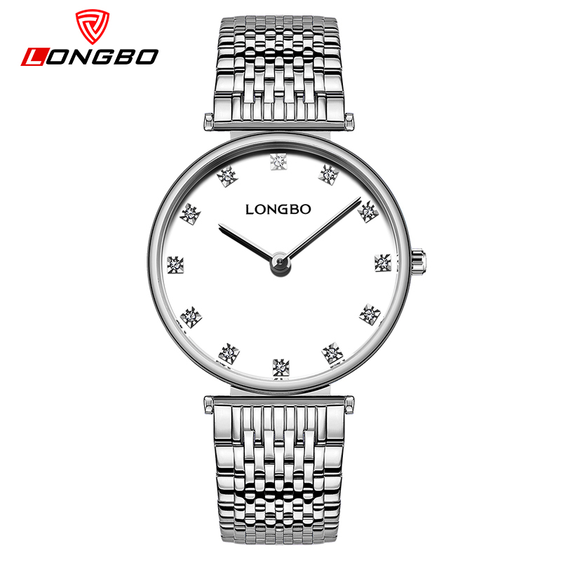 LONGBO Relogio Feminino New Simple Steel Fashion Quartz Watch Women Gold Rhinestone Luxury Ladies Watches Dress Luxury Clock misscycy lz the 2016 new fashion brand top quality rhinestone men s steel band watch quartz women dress watch relogio feminino