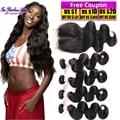 7A Unprocessed Brazilian Body Wave Virgin Hair With Closure 4 Bundles Brazilian Body Wave With Closure Ishow Hair With Closure