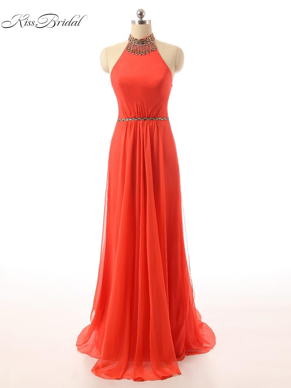 Long Elegant   Prom     Dresses   2017 Sexy Vestidos De Festa Beads Halter Neck Sleeveless A-Line Formal Evening Party Gowns