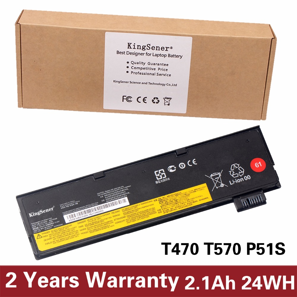 KingSener 100% New Laptop Battery for Lenovo ThinkPad T470 T570 P51S 01AV427 01AV423 SB10K97580 11.4V 2.1Ah/24WH купить недорого в Москве