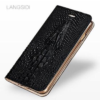 Genuine Leather Flip case for redmi note 9s note 7 note 8 9pro 4X K20 mi 9T Crocodile skull phone cover 360 full soft protective