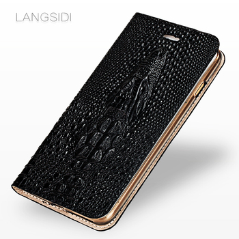 Genuine Leather Flip case for redmi note 9s note 7 note 8 9pro 4X K20 mi 9T Crocodile skull phone cover 360 full soft protective