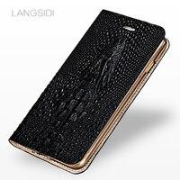 Langsdi-funda con tapa de cuero genuino para móvil, carcasa de piel de cocodrilo con ranura para tarjeta para Oneplus 7 pro 6t 6 8 PRO 7t 9 pro nord 2 9R