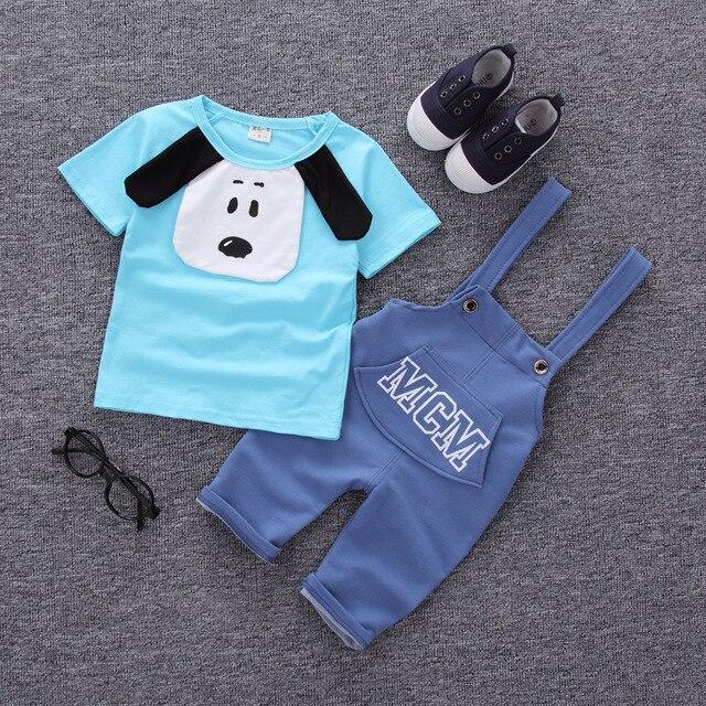 Летняя Новинка для мальчиков и девочек хлопок, с коротким рукавом, на ремешке, комплект с изображением животных из мультфильмов От 0 до 2 лет детская одежда - Цвет: G19-BLUE
