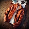 Otoño e Invierno de Los Hombres de Moda Chaqueta de Cuero de LA PU Sólida Cazadora Caliente Masculina Chaqueta de gran tamaño M-5XL Hombres ropa