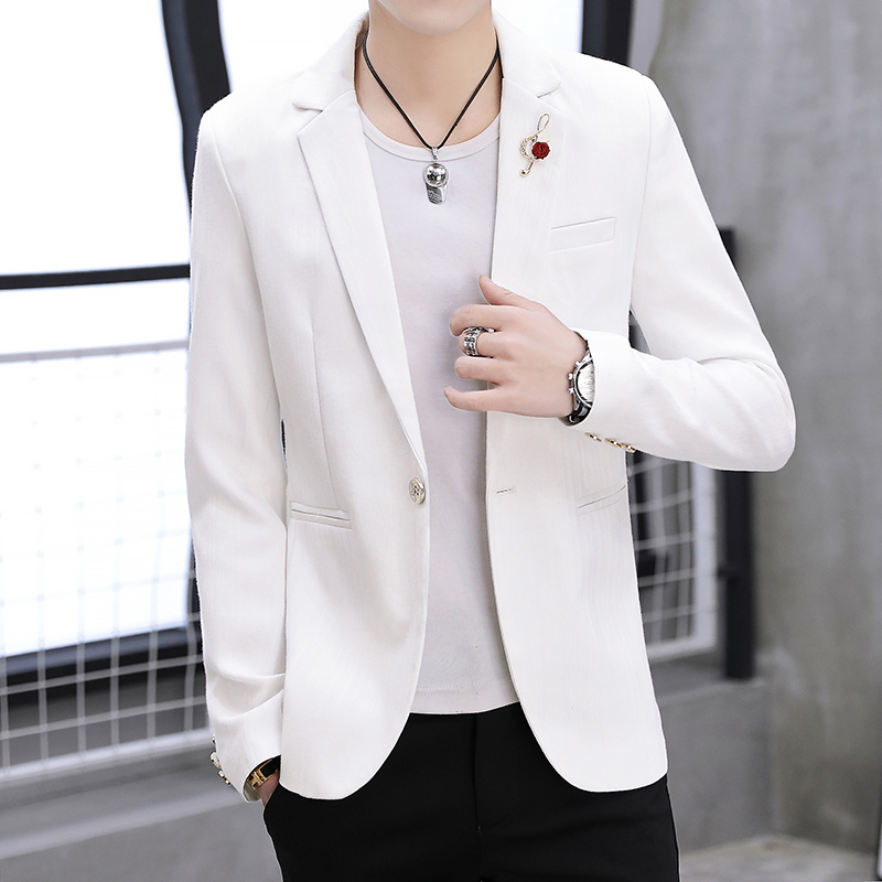 White Mens Blazers 2019 New Arrival Spring Summer Blazer Jackets Man One Button Casual Slim Fit England Style Dress Suit Coat