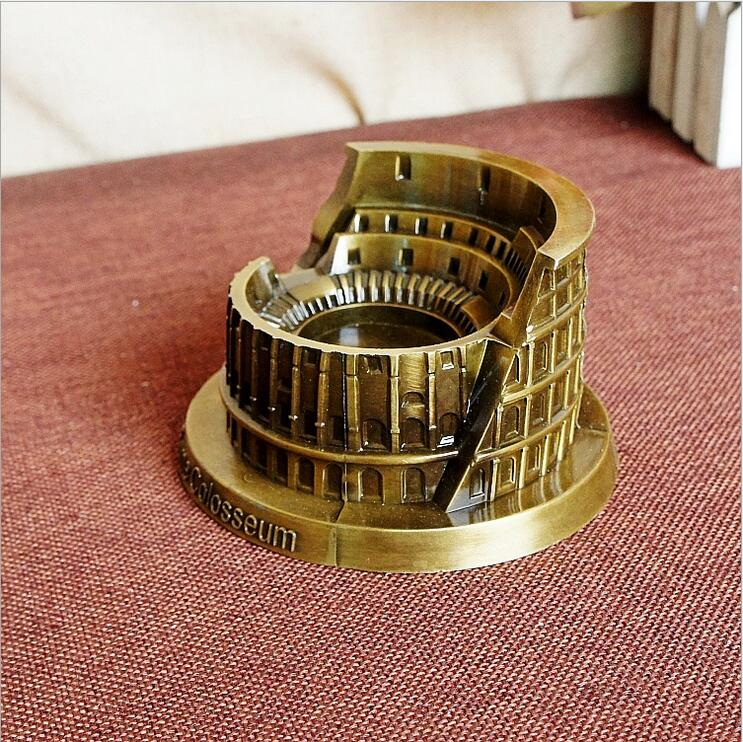 World Famous Landmark Building Italy Rome Colosseum Metal Bronze Model Crafts For Home Shop Decoration Tourist Souvenirs Gift