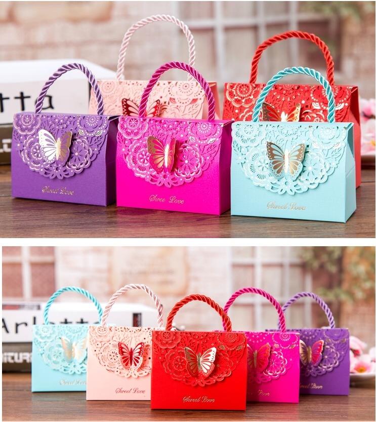 Синий фиолетовый бабочка цветок конфеты бумага Подарочный пакет с ручкой Свадьба пользу портативный подарок бумажная коробка вечерние Свадебная вечеринка Сувениры розовый