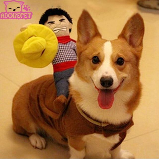 Halloween caballo de montar a caballo traje de vaquero con sombrero para pequeño perro grande perro mascota gato divertido Golden Retriever partido chaqueta ropa