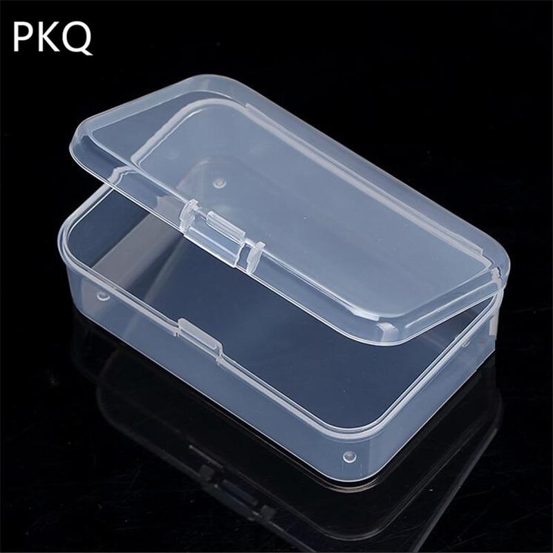 Mini Clear Plastic Small Box Hook Jewelry Earplugs Container Storage Organizer