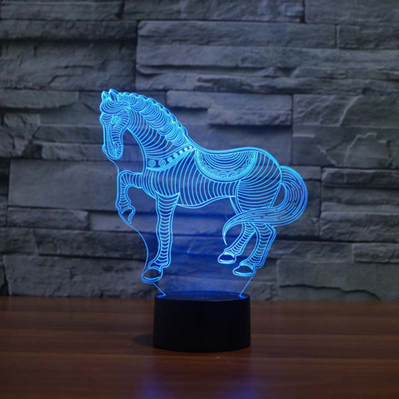 buy Running horse 3D night Light Cute Gifts For Children Novelty Led Night Light For Living Room pic,image LED lamps deals