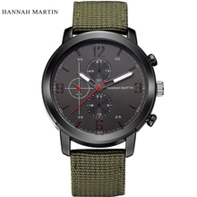 2017 Hannah Martin Brand Watch Men Casual Nylon Fabric Male Watches Men Sports Military Quartz-Watch Men Watches Relojes Hombre  hannah martin nato nylon canvas watchband black face japan quartz movement waterproof men watch wrist watch sarah watch fukavei