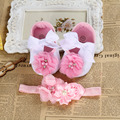 Ivory kids girls shoes,Baby girl Crib slippers shoes flowers pearl  de menina,Baby christening baptism shoes sapatinho