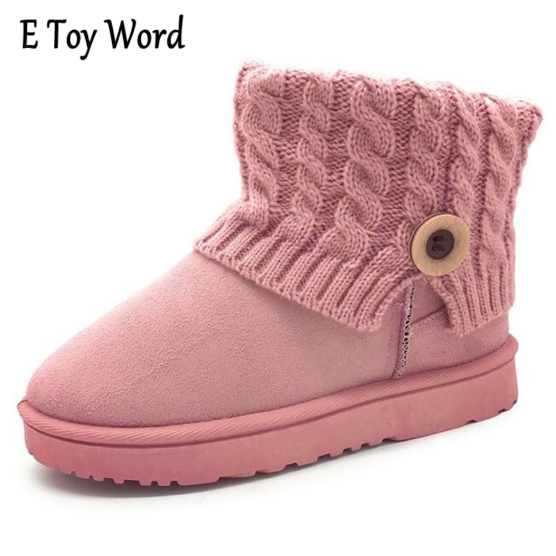 E TOY WORD Winter Women's Boots Suede Snow Boots Round Toe Flat Shoes Ankle Boots Warm Kinnted Platform Boot Woman Mujer Bottes e toy word 2017 winter snow boots women warm fashion platform rubber ankle boots shoes woman flat with 3 colors xwm190