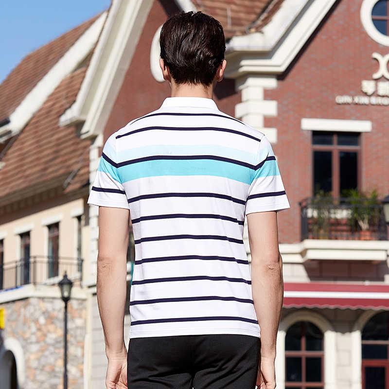 2018 Мужская рубашка поло 3D вышивка высокое качество Топы И Футболки мужские рубашки поло деловые мужские бренды полосатая печать рубашки поло 8092