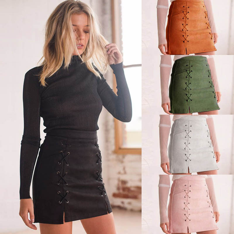 Women Leather Suede Pencil Black Mini Skirt Summer High Waist Short Bodycon Lace Up Skirts Sexy Split Skirts KH939225