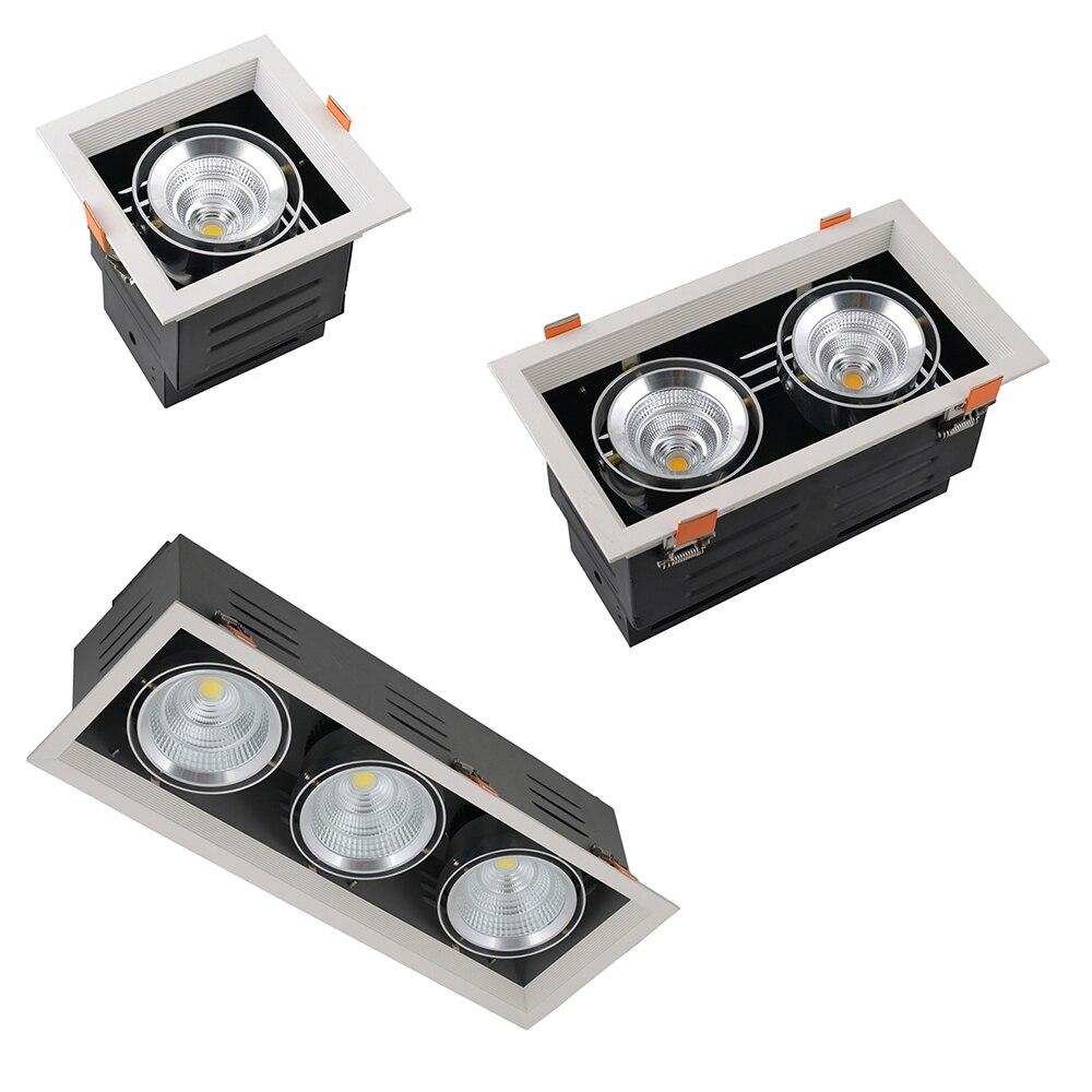 1 Head (9 Вт 15 Вт 25 Вт 40 Вт), 2 головки (2x9 Вт 2x15 Вт 2x25 Вт 2x40 Вт), 3 головки (3x9 Вт 3X15 Вт 3x25 Вт) встраиваемые светильники светодиодные решетку площадь и п...