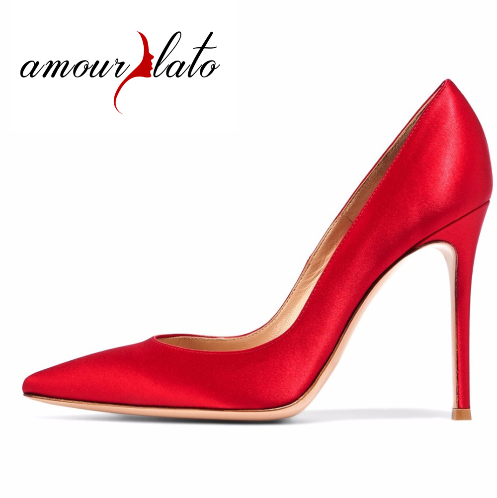 Amourplato Women's High Heel Satin Pumps Pointed Toe 10cm Stiletto Thin Heels Closed Toe Party Prom Dress Shoes Red Black shoesofdream ladies high heel closed pointed toe solid plain pumps decoration handmade for wedding party dress stiletto shoes