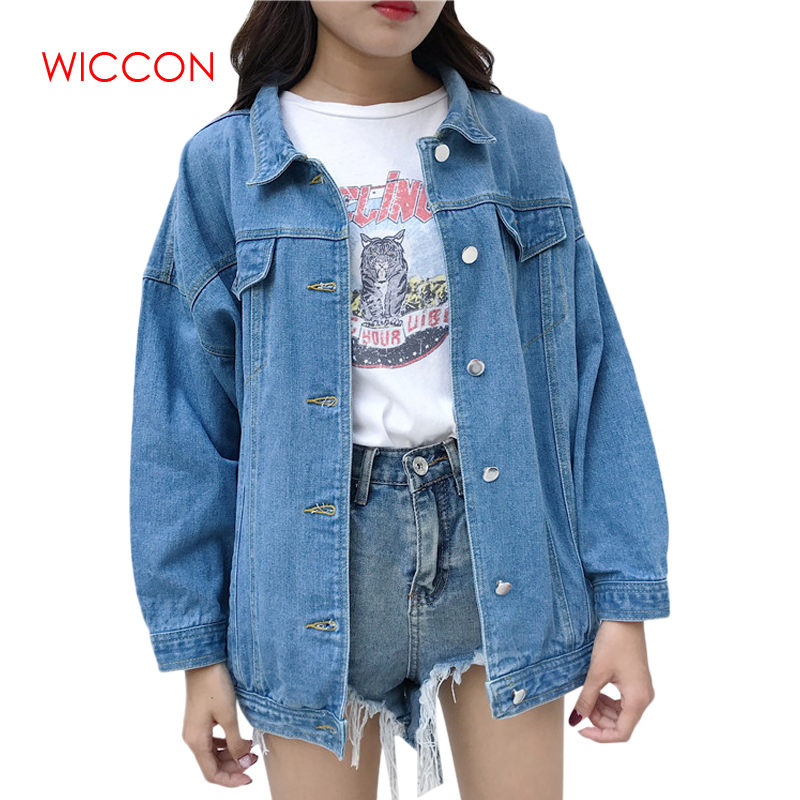 WICCON Denim Jeans Jacket for Women Loose Ripped Vintage Bomber Jackets Basic Coats Woman Spring Autumn Clothes Streetwear Tops 1