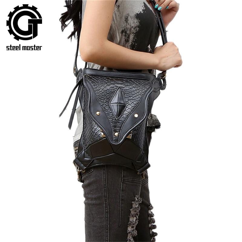 Steampunk láb táska női férfiaknak Messenger válltáska fekete Vintage deréktáskák 2017 magas csípőfedeles zsák pénztárca tasak