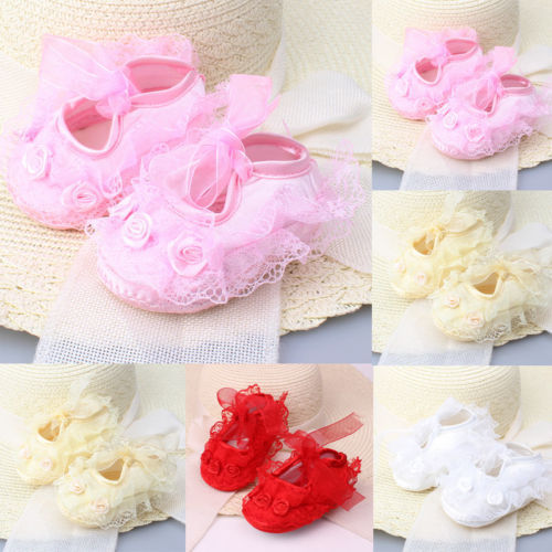 Colorful Newborn Infant Baby Girl Non-Slip Lace Flower Baby Crib Shoes Soft 2019 new 4