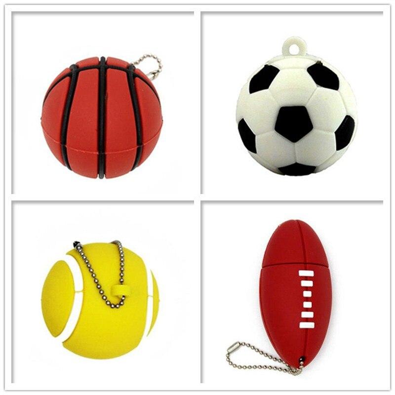 USB Flash Drive Real Capacity Pen Drive Football/Soccer/basketball/tennis Memory Stick 4GB 8GB 16GB 32GB 64GB Pendrive Cle Usb