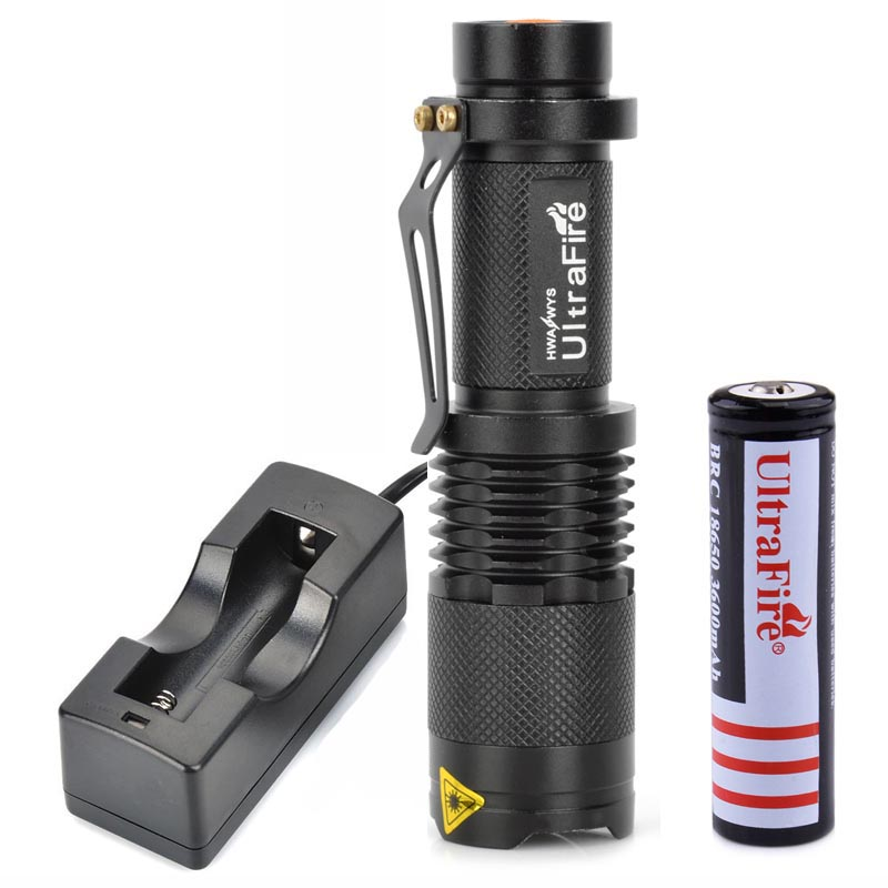 UltraFire SK98 800lm 3-Mode White Light LED Flashlight XM-L T6 LED Lamp Zoomable Portable Torch with 18650 Battery + Charger cree xm l t6 bicycle light 6000lumens bike light 7modes torch zoomable led flashlight 18650 battery charger bicycle clip