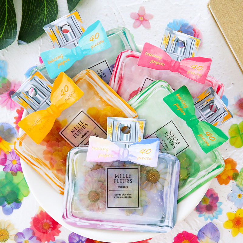 40pcs/bag Creative Perfume Bottle Petal Sticker Bag DIY Scrapbook Decoration Sticker Sheets Label Notes Post Stationery