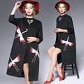 Плащ Продвижение Настоящее x-долго Burderry Женщины 2016 Осенняя Мода прилив Qianhe Щедрый Тяжелым Пальто С Большой Раздел B2