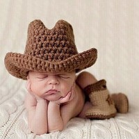 Baby Cowboy Design Hats Boots Crochet Knitted Baby Kids Photo Props Infant Newborn Shooting Props Costume