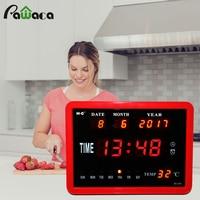 Extra Large Screen Digital Alarm Clock Day Clock 8 Alarms Option Calendar Week Time Temperature Disply Table Clock Desktop Clock