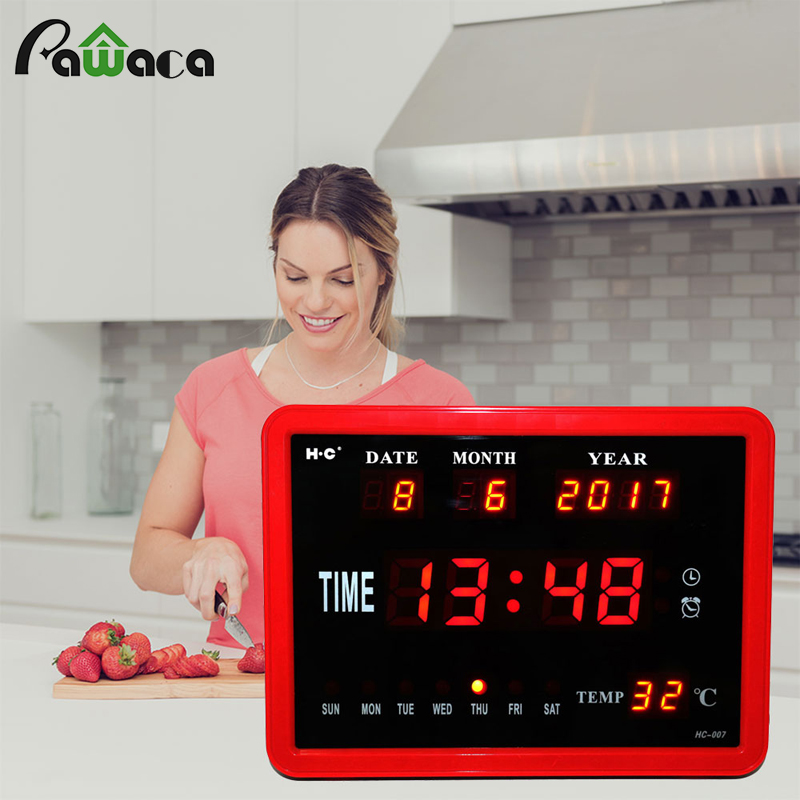 Extra Large Screen Digital Alarm Clock Day Clock 8 Alarms Option Calendar Week Time Temperature Disply Table Clock Desktop Clock