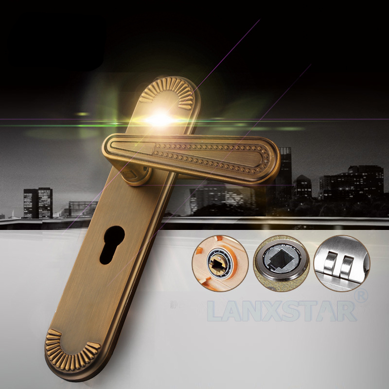 ФОТО Continental Retro Lock Full Zinc Alloy Handle-lock Universal Mechanical Lockset Interior Room Doors Handle-locks