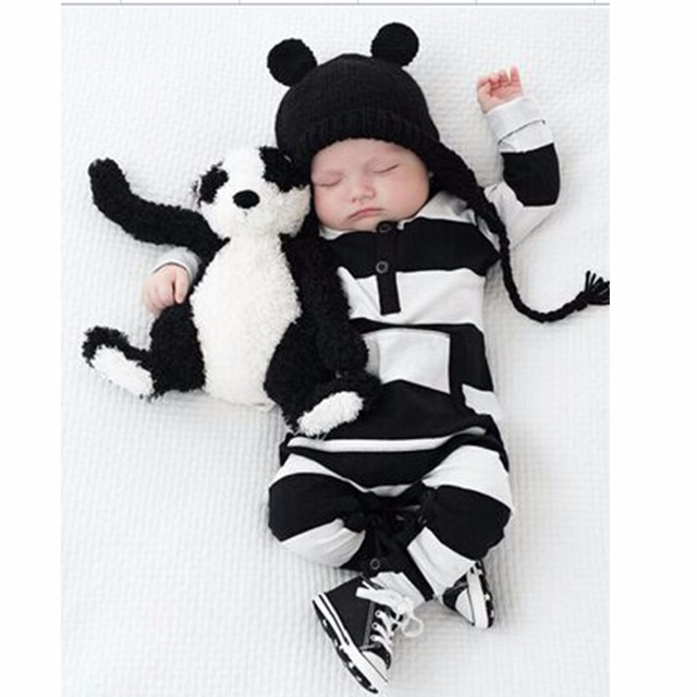 aa9779f9bf86c Puseky Lovely Infants Baby Girls Boys Clothes Long Sleeve Rompers White  Black Striped Bebes Ting Cotton Clothes Outfits 0-2Y