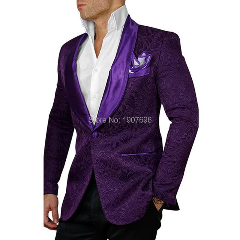 Jacquard Pattern Mens Suits Two Piece Purple Slim Fit Male Set Jacket Black Pants Shawl Lapel Wedding Groom Tuxedos