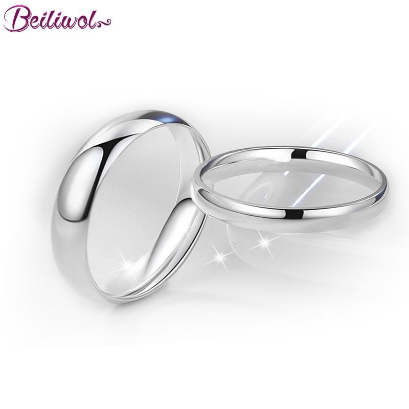 Beiliwol Silver Color Men Wedding Rings for Women Fashion St