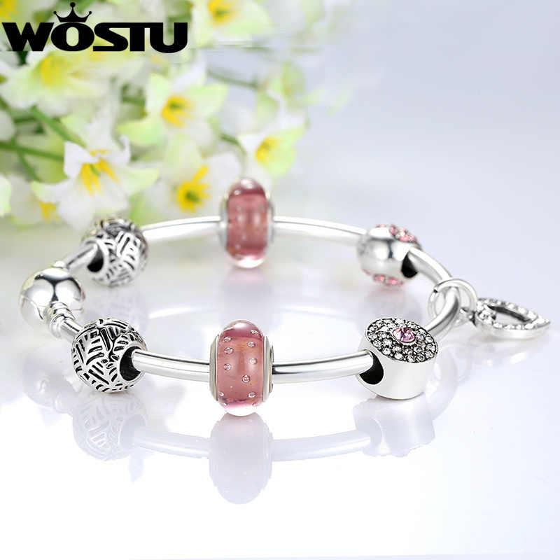 حار فضي اللون الوردي القلب Charm الإسورة للنساء موضة الخرز DIY بها بنفسك صالح الأصلي سوار مجوهرات عاشق هدية XCH3805