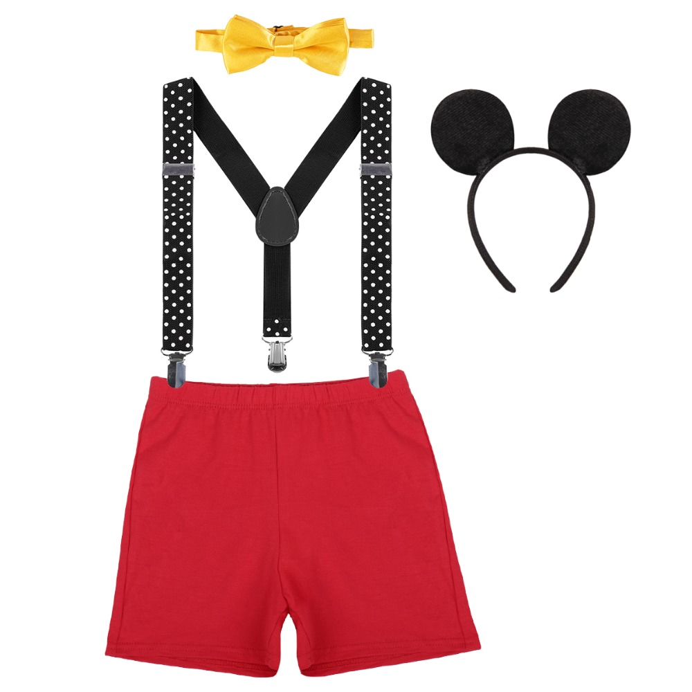 Toddler Kids Baby Boy Girl Suspenders Bow Tie Hat Outfit for Birthday Photo Prop
