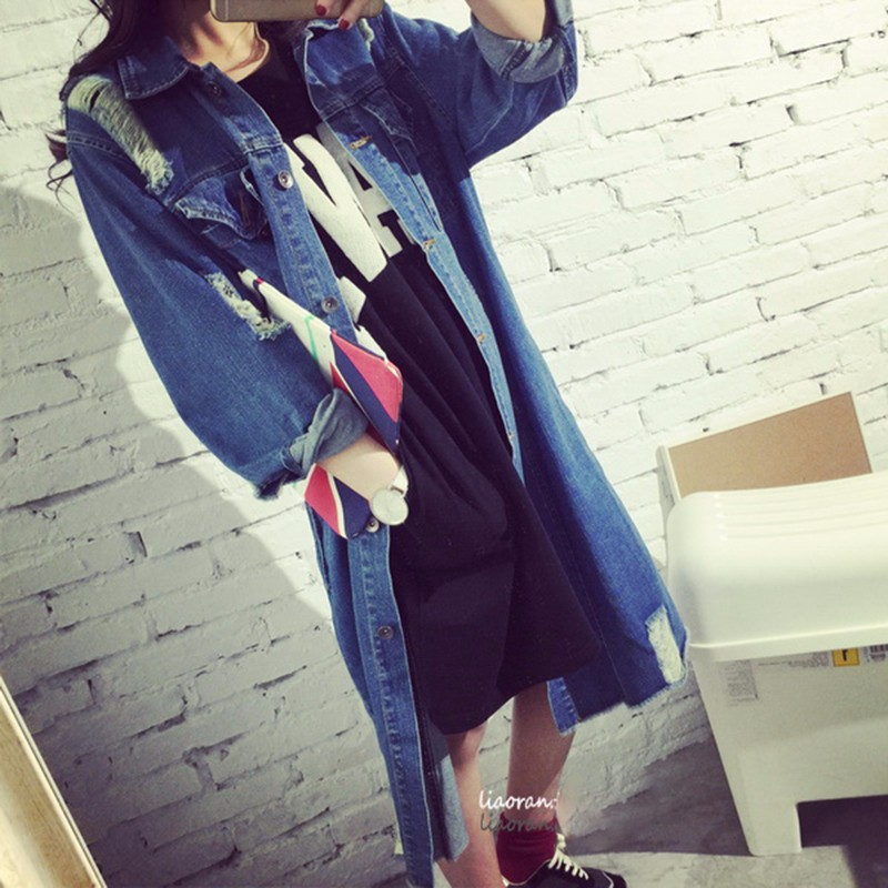 Womens Autumn Jackets And Coats 2016 New Design Frayed Washed Denim Outwear Girls Casual Slim Pocket Clothing New Street Fashion (5)