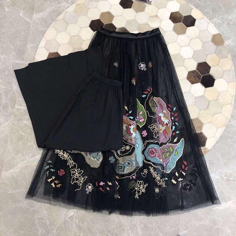 Décontracté Pour Mode Longues 2019 Femmes Jupes Noir Broderie Maille Nouveau Lady Sw0wtrgFcq