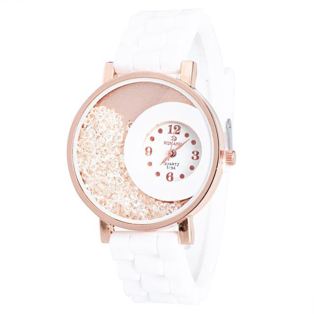 Moment # L04 2018 Fashion Lady watch Silicone watch Rhinestone Quartz Bracelet Watch Mens Watch white blue green red black Free
