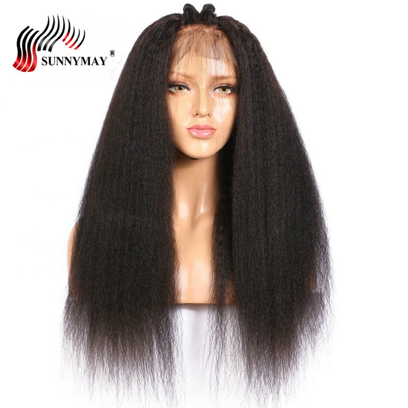 Sunnymay Kinky Straight Glueless Full Lace Human Hair Wigs Malaysian Virgin Hair Pre Plucked With Baby
