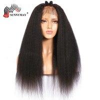 Sunnymay странный прямо бесклеевого человеческих волос Парики Малайзии Virgin волос предварительно сорвал с ребенком волос для Для женщин