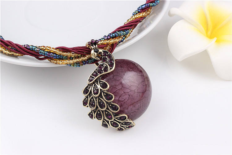 ZOSHI Blue natural crystal stone pendant necklace fashion peacock pendant necklace for women jewelry 18