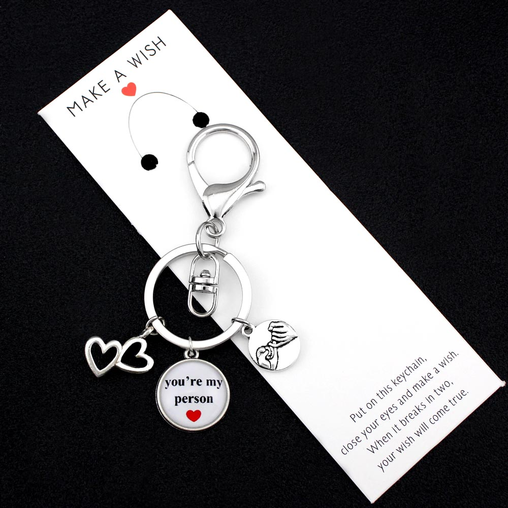 You are My Person Heart Love Keychains Hand in Hand Pinky Swear Promise KeyChain Key Ring Key Chain Women Men Unisex Jewelry in Key Chains from Jewelry Accessories